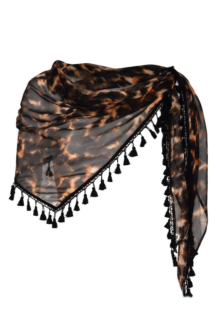 Picture of Signature Triangle Scarf Tortoiseshell Black