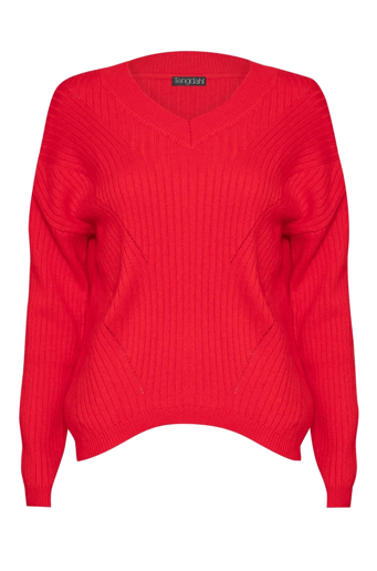 Picture of Cashmere Ribbed Jumper Red