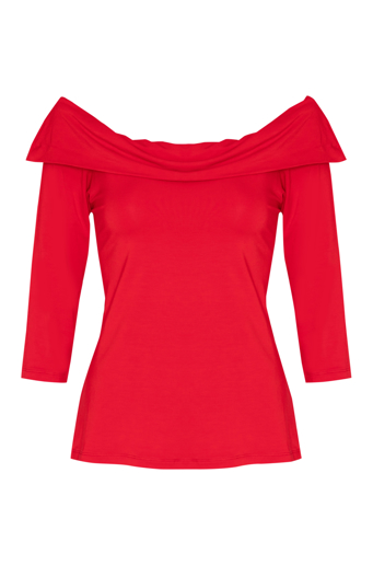 Picture of Off The Shoulder Knit Top Red