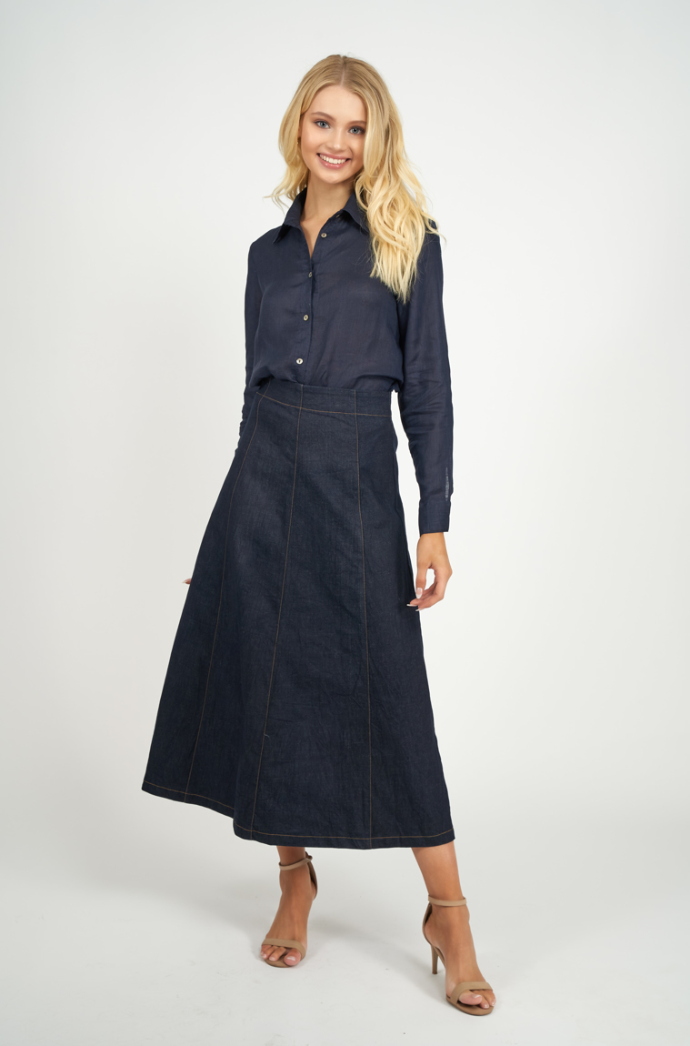 Picture of Adele Linen Shirt Navy