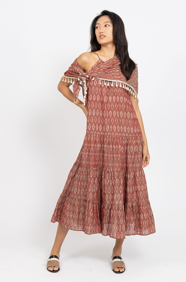Picture of Vivien Tiered Dress Rust